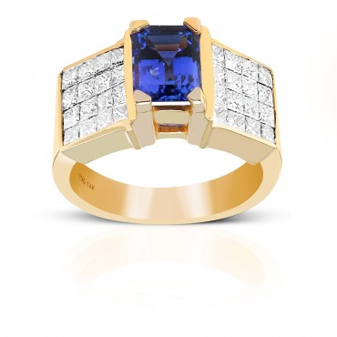 Emerald-cut Tanzanite Cocktail ring with Invisible Princess-cut Diamonds 14 Karat Yellow Gold